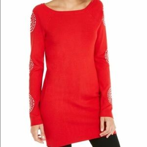 INC red tunic sweater NWT